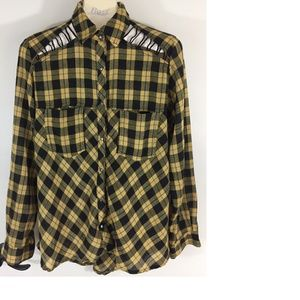 Women's Yellow Buffalo Check Plaid Snap Front Top